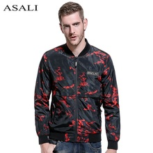 ASALI Bomber Jacket Mens Hip Hop Jacket Male Casual Slim Fit Thin Jackets Outwear Men Stander Collar Veste Homme Europe Size(China)