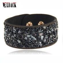 Ssle утолить кристаллами очарование камень wrap кожаные браслеты пара изделия ювелирные