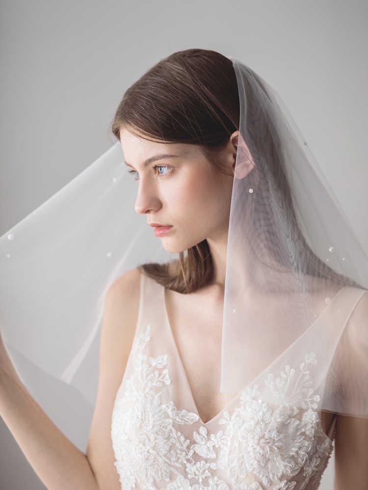 2019 新ショート 2 層の結婚式のベールシンプルなブライダルベールブライダルベールウェディングアクセサリー Veu デ Noiva EE614