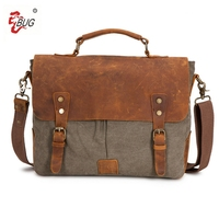 Genuine Leather Canvas Document Men S Messenger Bags Travel Bag Leather Briefcases Vintage Crossbody Satchel 15