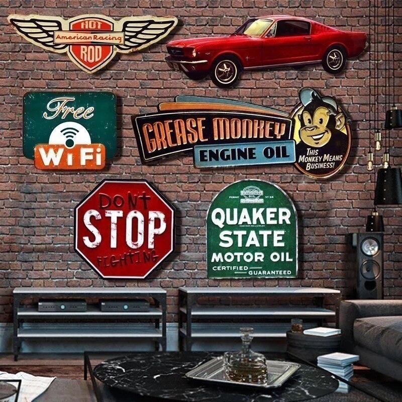 Triumph Classic Garage Moto Distributeur Moto Ann/ées 70 R/étro M/étal//Panneau Mural M/étalique 15 x 20 cm