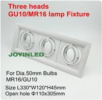 Três cabeças grille luminária downlight teto quadrado copos para GU10/MR16 GU5.3 spot lâmpadas de Halogênio MR11 titular branco alumínio