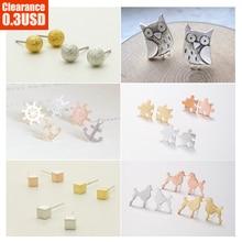 Hfarich Korean Style Fashion Ball Square Earrings Geometric Animal Stud For Women and Kids Daughter Birthday Gift femme