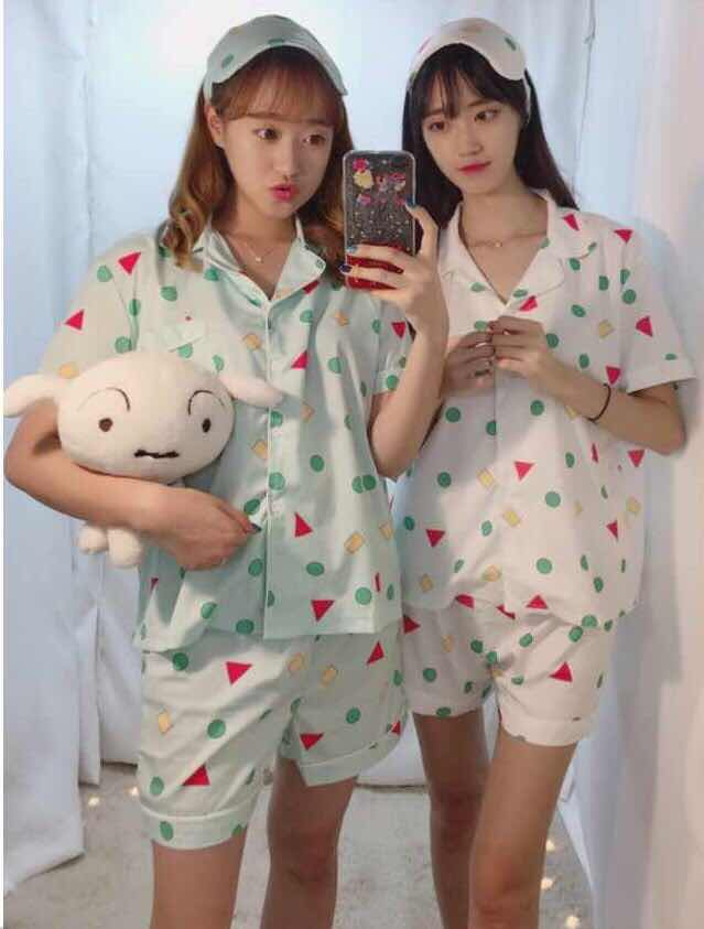 New 2019 Pajama Sets Women Print Geometric Cute 3 Pieces Set Short Sleeve Top + Shorts Elastic Waist + Blinder Loose S83201