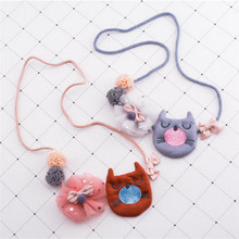 Korea Handmade New Cute Fabric Cartoon Cat Lace Flower Children Necklace For Girls Kids Apparel Accessories-HZPRCGNL025F