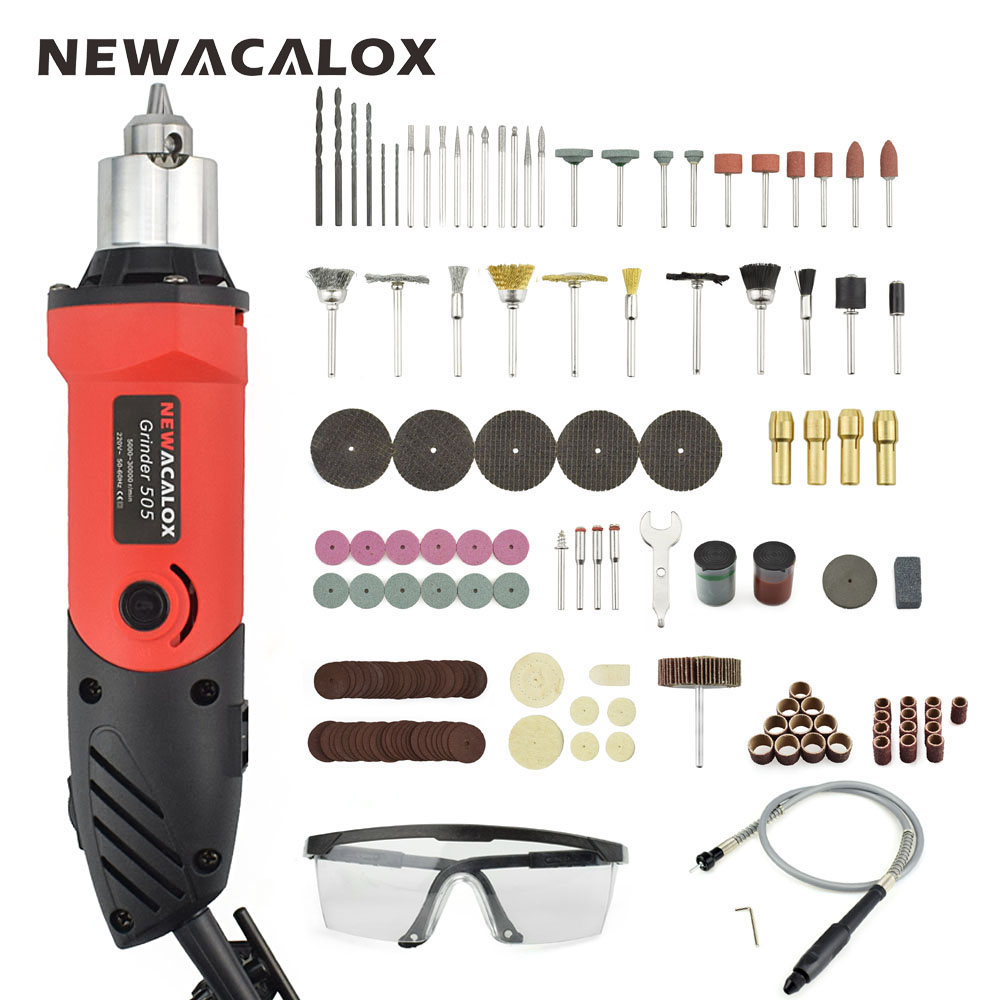 NEWACALOX EU 480W Variable Speed Electric Drill Grinding Machine Grinder Set with Engraving Polishing Dremel Rotary Power Tool