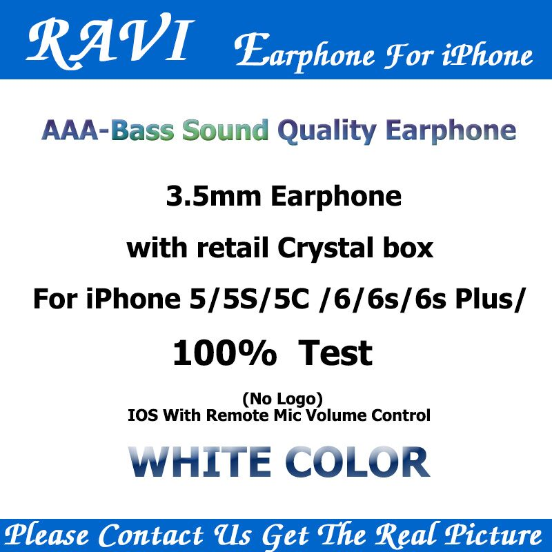 RAVI Bass Sound In-Ear Earbuds Headphone With Mic Volume Control for Apple Earphones iPhone 4 5 5s/6s Android Phones 100 pcs lot