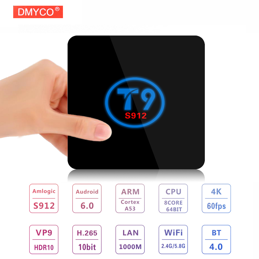 T9 4K Octa core Android 6.0 OS Amlogic S912 Android tv set top box 3D 4K BT 4.0 1080P Full HD Media Player 64 bit Smart tv boxes