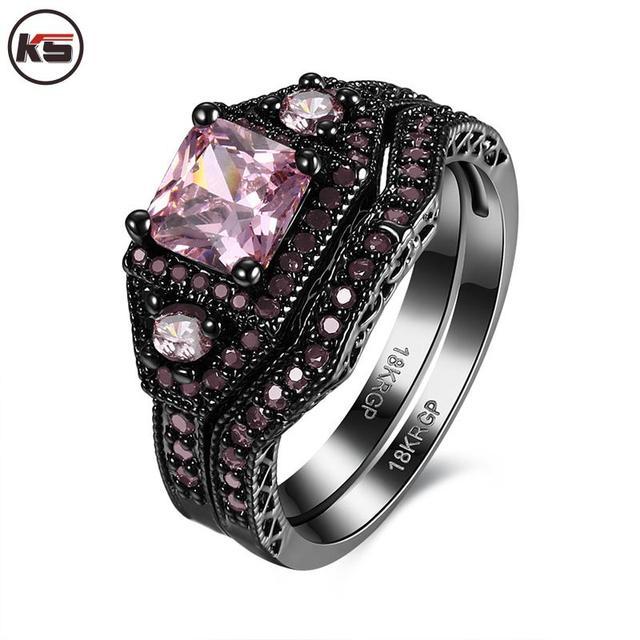2016 Black Ring Sets HOT Black Gun Color Zircon Pink Purple Fashion