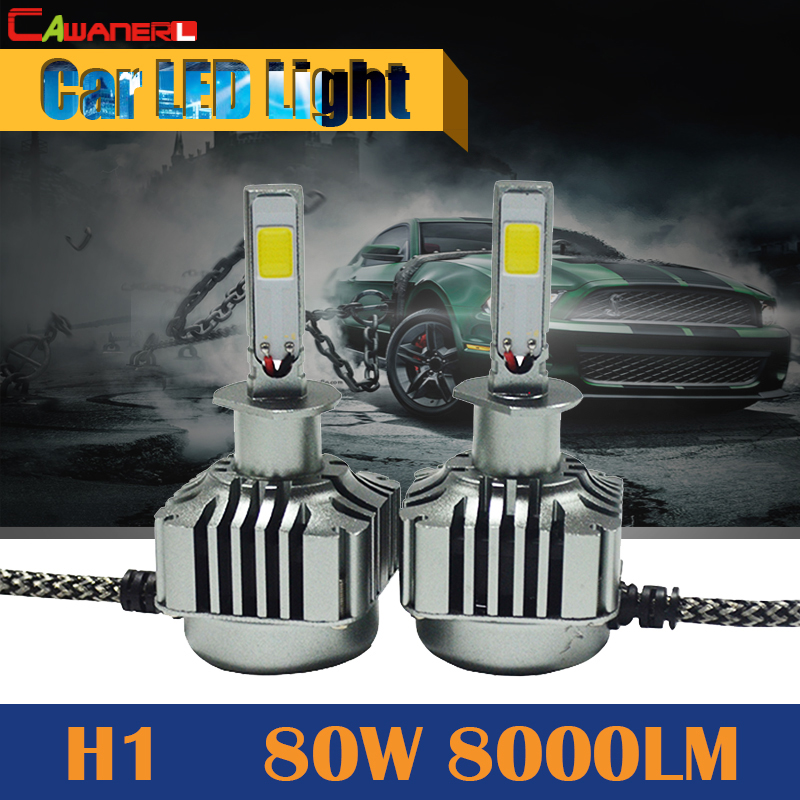 Cawanerl 1 Pair 80W H1 8000LM LED Bulb 6000K White Car Conversion Headlight Fog Light DRL Daytime Running Lamp cawanerl 1 pair 100w h3 car led bulb 20 smd 2200lm white 6000k automotive fog light daytime running lamp headlight low beam drl