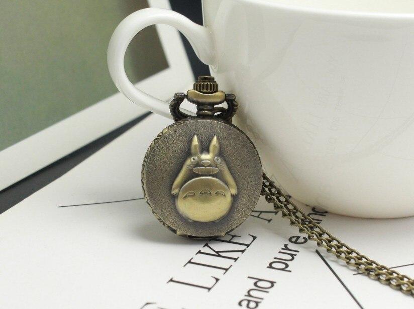 Antique My Neighbor Totoro Anime Pocket Watch Necklace Retro Bronze Quartz Flip Fob Clock Chain Vintage Pendant For Children