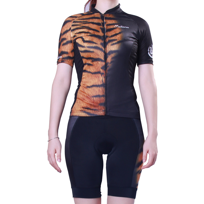 Women's Leopard Pattern Cycling Jersey Short Sleeve Ropa Ciclismo Bike/Bicycle Sets Suits Sportswear Quick-Dry Cycling Clothing стоимость