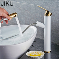 JIKU Solid Brass Water Tap White Gold Bathroom Basin Faucet Bathroom Tap Cold And Hot Bathroom Sink Faucet Torneira Banheiro