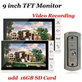 Home Security 9 Inch TFT Video Doorbell Door Phone Intercom System add 16GB SD Card Vdeo Recording Doorbell IR Camera 2PCS LCD