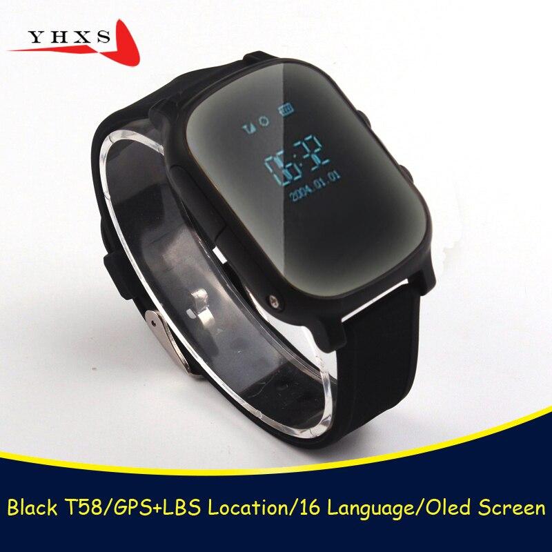 Enfants intelligents OLED montres SOS appel GPS localisation Finder Tracker pour enfant aîné Anti-perte moniteur à distance bébé noir montre-bracelet T58