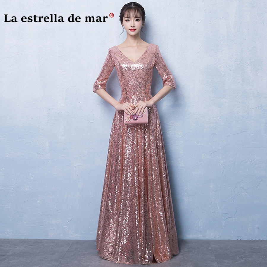 Detail Feedback Questions about robe demoiselle d honneur2018 new sexy V  neck half sleeve rose gold gold sequins vestido madrinha long cheap wedding  party ... 07c244043059