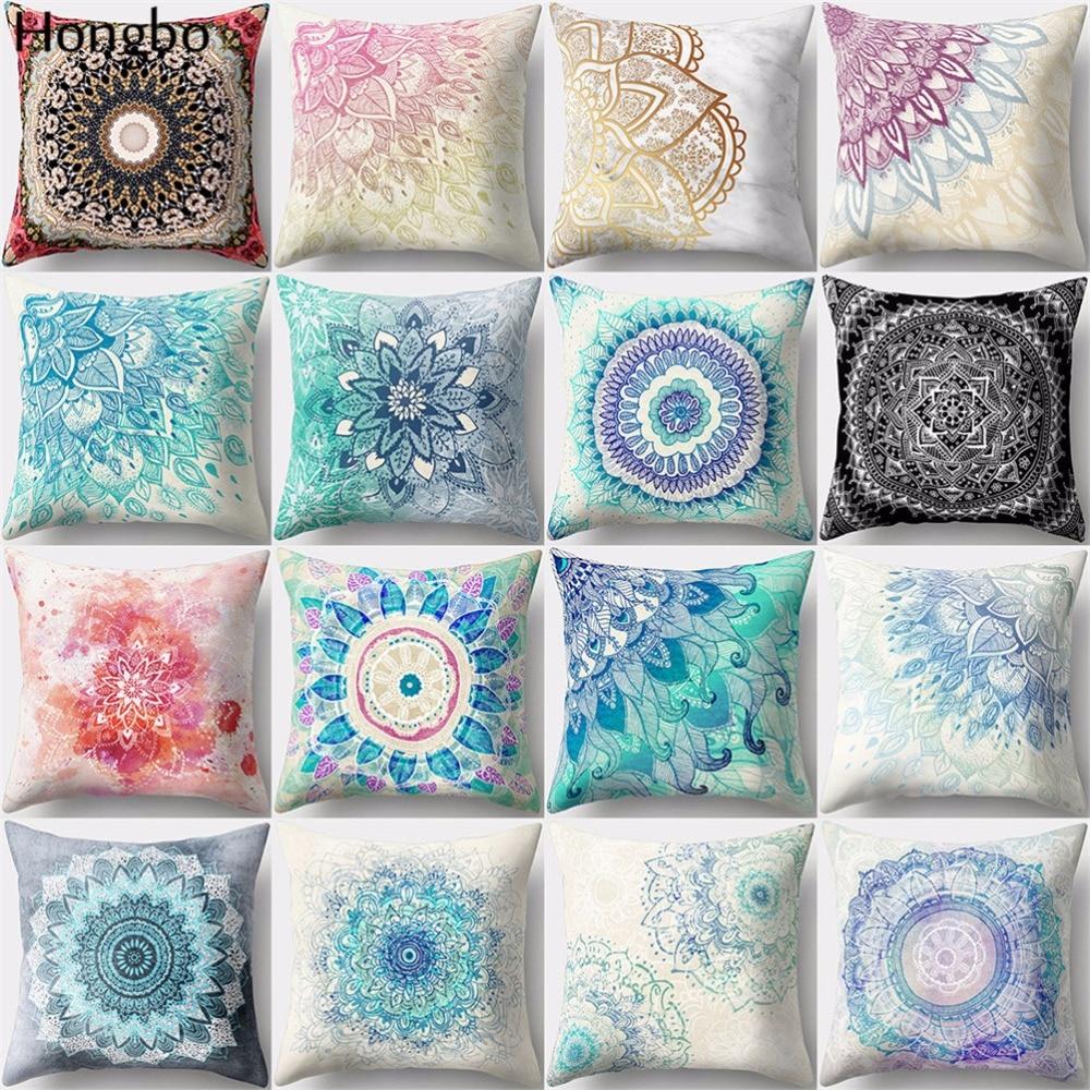 Hongbo 1 Pcs Mandala Cushion Cover Datura  Bohemian Throw Pillow Stramonium Geometric Home Decorative