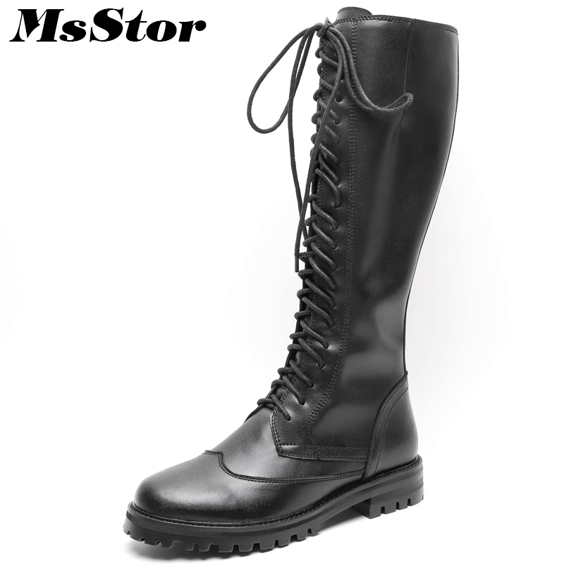 MsStor Women Boots Round Toe Low Heel Knee High Boots Women Shoes Genuine Leather Zipper Square heel Black Boot Shoes For Girl vintage women genuine real leather knee boots winter boot sexy square heel round toe zipper fashion women boots shoes size 33 40