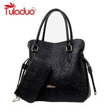 High Quality PU Leather Bags Women Floral Handbags Famous Brand Clutch Purses Ladies Tote Bolsa Feminina Classic Grain Top Bag