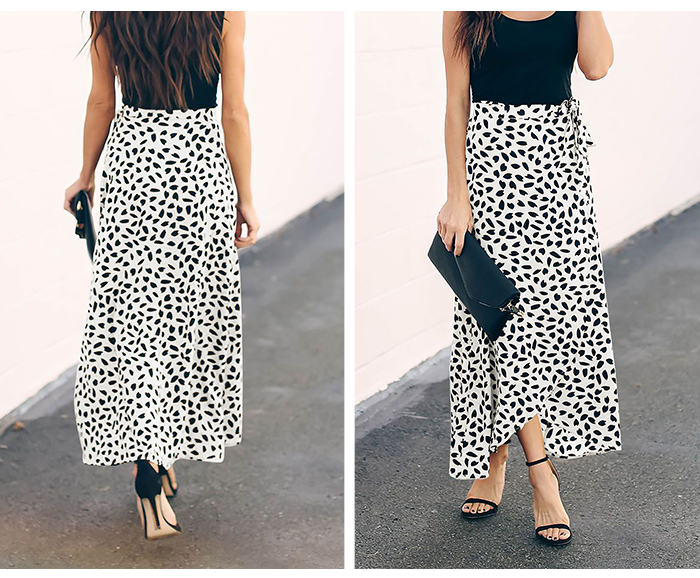 HTB1x.P RAvoK1RjSZFwq6AiCFXab - Surmiitro Polka Dot Print Long Maxi Summer Skirt Women Fashion Ladies White Black Split High Waist A-line Sun Skirt Female