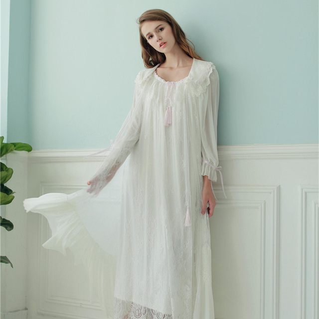 Women Robe Lace Gown Long Sleepwear Set Royal Nightwear Spring Summer Nightgown Set Wedding Robe Two Pieces Set High Quality