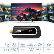 H96 Pro 4 K TV Stick Android 7.1 TV dongle Amlogic S912 Octa Core 2G 16G H.265 Miracast Wifi Mini PC with Fly Air Mouse TV Box