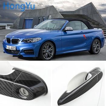 For BMW Carbon Fiber Auto Door Handle Knob Exterior Trim Covers for BMW 2 series F22 F23 218i 220i M235i 228i 2014 -2018 Sticker