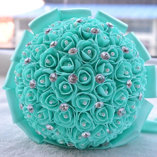 2017 Flores de La Boda Ramos de Novia Ramo De La Boda de dama de Honor Barato Verde Artificial Ramo de Novia Rose buque de noiva