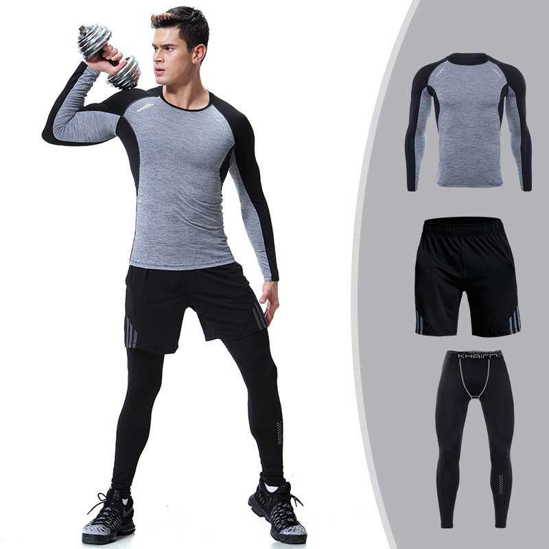 3 pieces men gym compress fitness sets long tee top