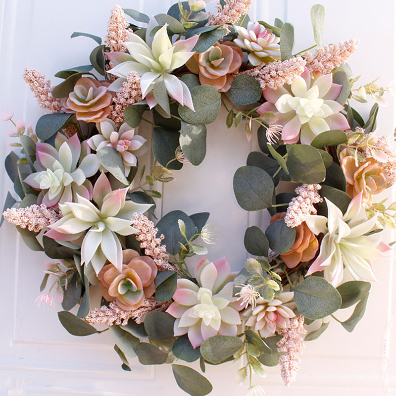 Artificial Wreath Door Trim Ornament Hanging Succulent Fake Flower Garland for Home Garden Christmas Wedding Decoration Floral