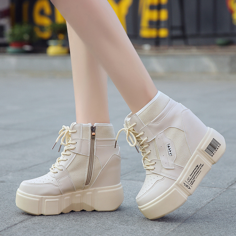 Rimocy 2018 Autumn Winter Ladies Breathable Ankle Boots High Heels Lace Up Hidden Wedges Platform Casual Shoes Woman Creepers rimocy black red autumn winter leather motorcycle ankle boots for women thick high heels lace floral platform shoes woman casual