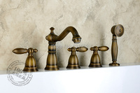 Darmowa wysyłka Na Ścianie Antique Bronze Wanna Kran Podwójny Uchwyt antyczny Mosiądz Mixer Tap Wanna i Prysznic Baterie Hurtowa