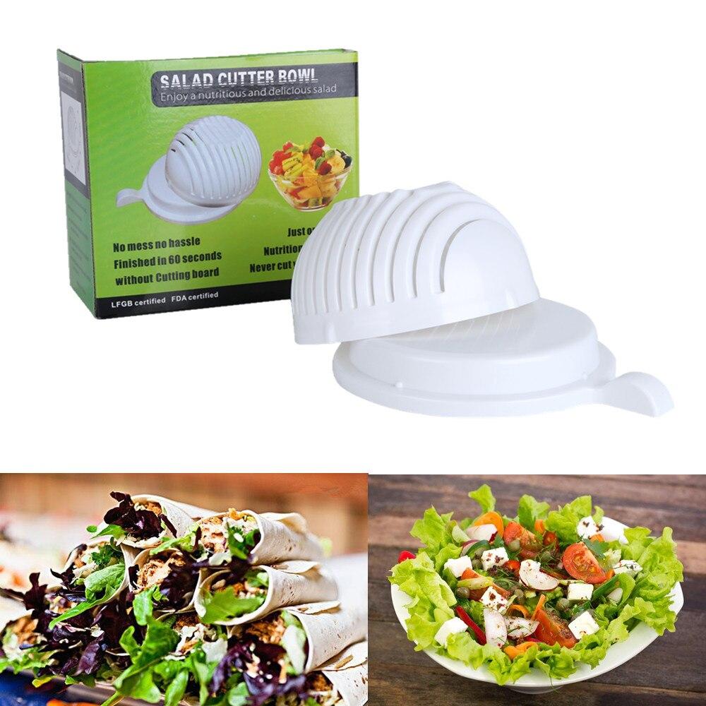 NEW 60 Seconds font b Salad b font Maker Bowl Cut Fruit Vegetables Cutter Bowl Big