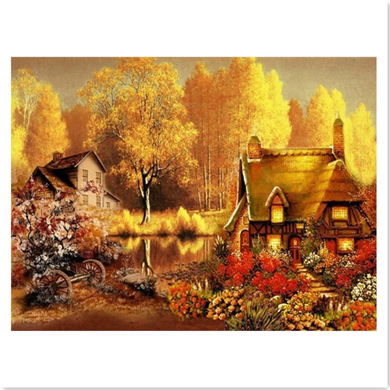 Autumn Cottage Needlework Painting square Diamond embroidery Drill full rhinestone diamond Diamont painting complet Decoration