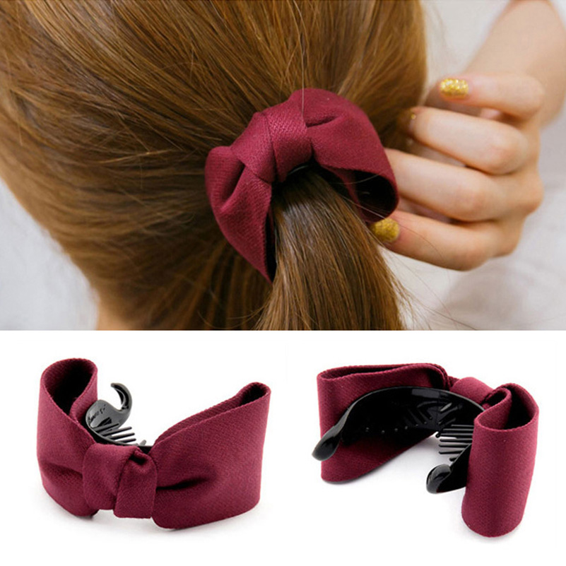 1PC Fine Elegant Fabric Bow Hair Claw Elegant Women Solid Cloth Ties Banana Hair Crab Clips Ponytail Hold Girl Hair Accessories