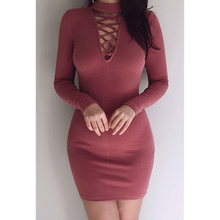 Фотография 2017 Winter Dress Plus Size Women Bandage Party Sexy Vintage Bodycon Red Dress Sheath Solid Hollow Out Above Knee Turtleneck