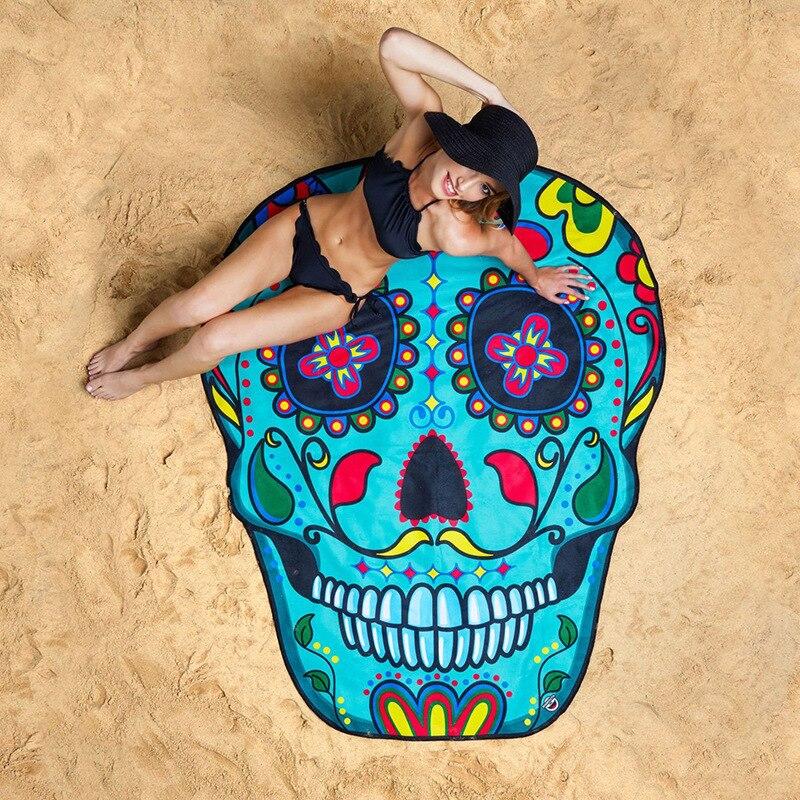 skull beach towel emoji Sunbathe Round Beach Towel New Large Polyester fiber Printed Yoga Towel With Tassel Serviette sand proof