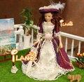 "6.7"" Porcelain doll model 1:12 dollhouse miniature Vitoria purple hat Lady"