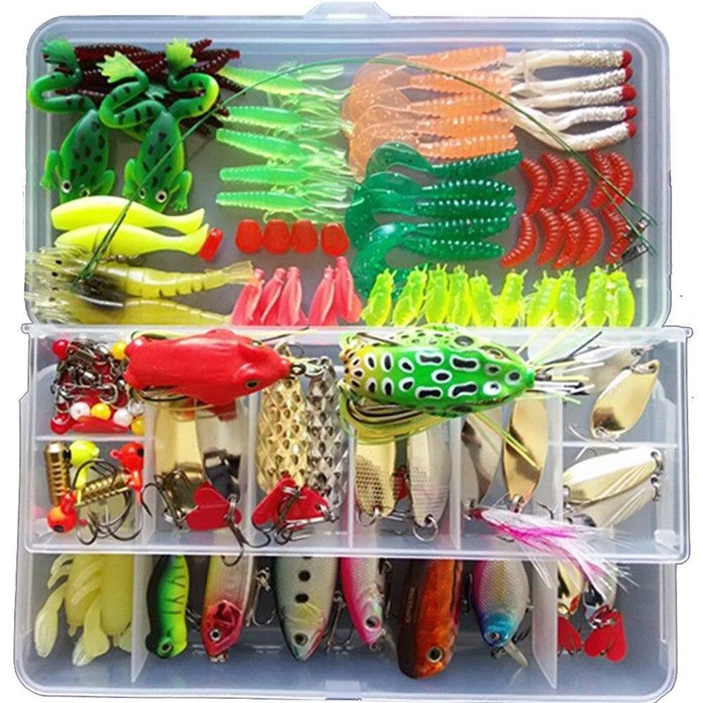 Lot de Kit de leurre de pêche, leurres souples et durs LifeVC Set d'appâts de pêche truite d'eau douce bar saumon avec boîte d'attirail