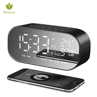 Mrosaa LED Alarm Clock with FM Radio wireless Bluetooth Speaker Support Aux TF USB Music Player Wireless for Office Bedroom