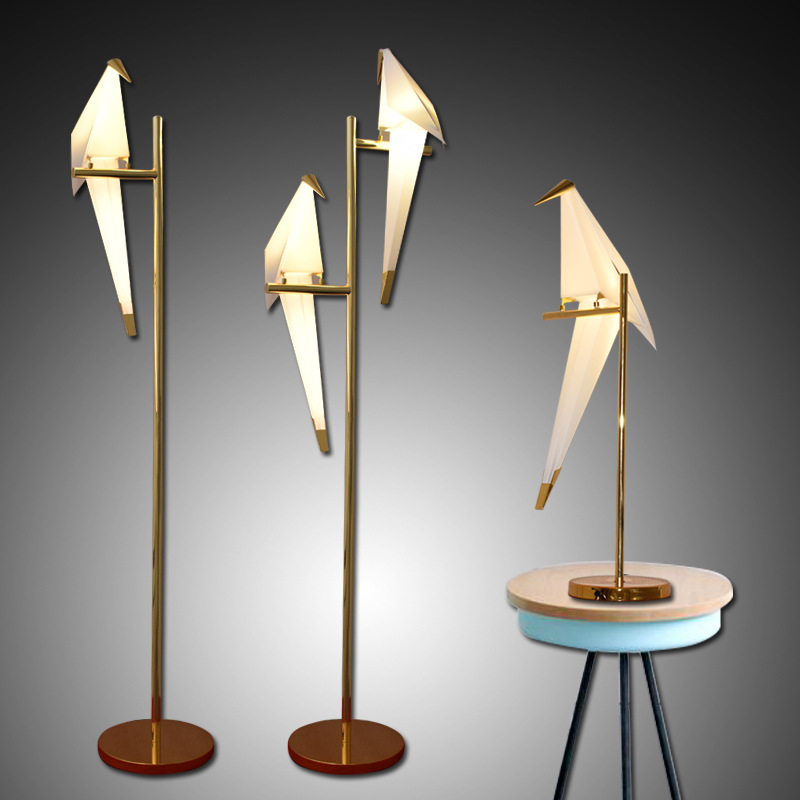 Image 1 - Bird Paper Floor lamp Nordic gold floor light Bedroom living room origami light Study Reading table lamp Deco Luminaire-in Floor Lamps from Lights & Lighting