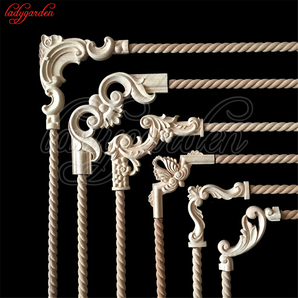 Decorative Wood Appliques Unpainted Wood Oak Carved Wave Flower Onlay Decal Corner Applique For Home Furniture Door Decor Crafts