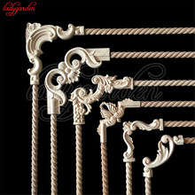 Decorative Wood Appliques Unpainted Wood Oak Carved Wave Flower Onlay Decal Corner Applique for Home Furniture Door Decor Crafts(China)