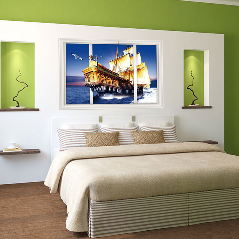 sailing the sea 3d wall stickers living room decoration creative