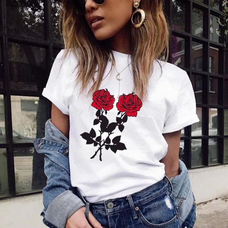 Fashion Red Rose Print T Shirt Women Short Sleeve O Neck Loose Tshirt 2019 Summer Women Tee Shirt Tops Camisetas Mujer