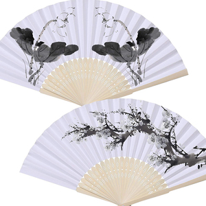 Image 3 - 50pcs/lot White Bamboo Folding Paper Hand Pocket Fan Chinese Fan Wedding Favors Birthday Gifts Party Decoration Home Decor 21cm