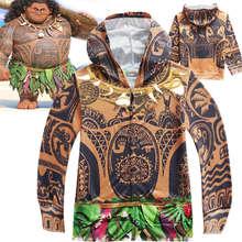 294f0ae42c92f Enfant garçons pull d été Halloween drôle Costume veste Moana Maui Cosplay  fantaisie Zip sweat Cool vêtements cadeau pour les en.