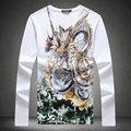 Strass estilo chinês padrão dragão boutique camisa de manga longa t 2016 Verão moda de algodão de alta qualidade t shirt dos homens M-5XL