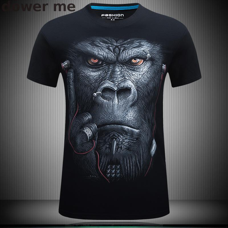 Высокое качество Новая мода лето Мода 2017 г. печати Очки наушники гориллы унисекс дышащая Повседневное 3D футболка для Для мужчин рубашка