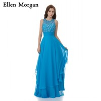 Fashion Chiffon Light Blue Evening Dresses 2018 Special Occasion Crystal Lace Floor Length Elegant Formal Gowns For Women Wear